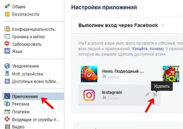 как отвязать инстаграм в настройках фейсбука
