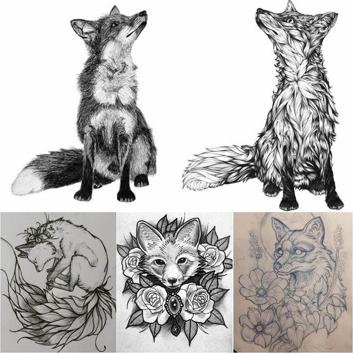 Эскиз татуировки с лисой