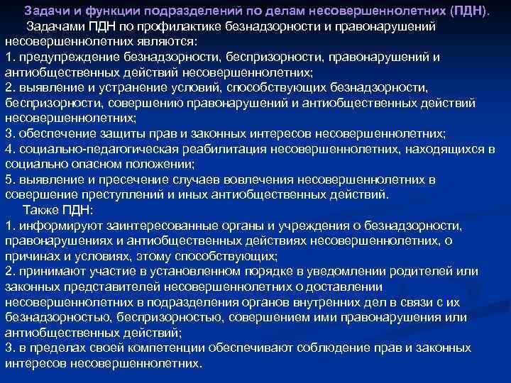 Обязанности инспектора ПДН