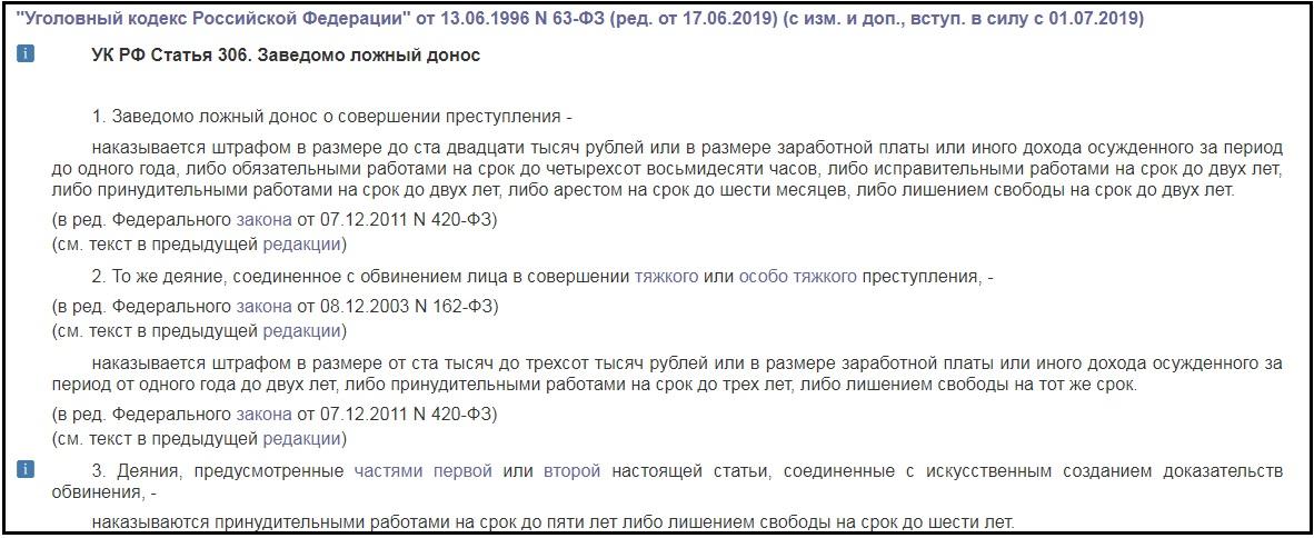 Статья 306 УК РФ