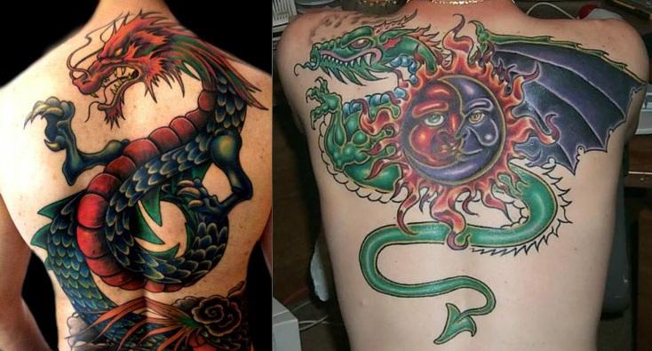 Тату дракона и змеи