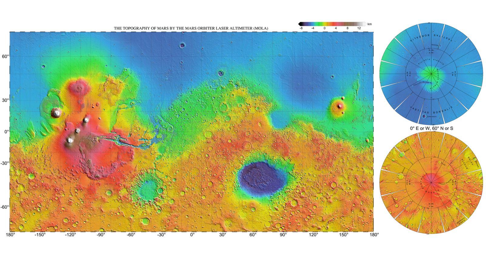 Изображение топографической карты Марса