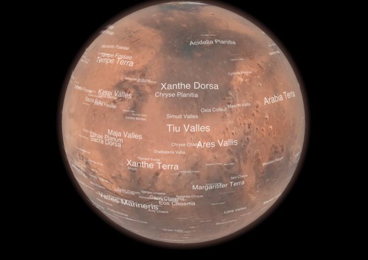 Цифровой глобус Марса в приложении